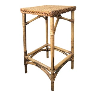 Vintage Bamboo & Wicker End Table Plant Holder For Sale