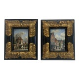 Image of Vintage Oil Paintings on Board Signed - a Pair For Sale