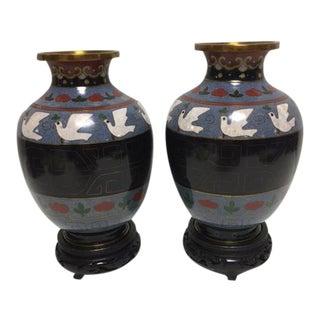 Vintage Asian Cloisonne Vases - A Pair For Sale