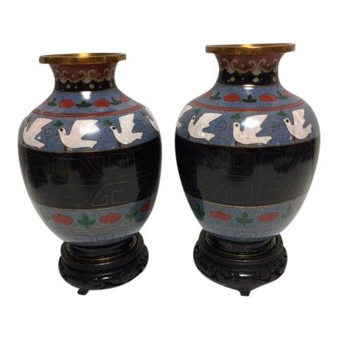 Vintage Asian Cloisonne Vases - A Pair - Image 1 of 8