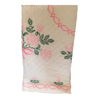 Antique Hand-Embroidered White, Pink & Green Tulip Quilt For Sale