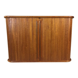 1960s Teak Tambour Door Wall Storage Cabinet