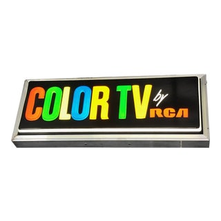 Vintage Color Tv by Rca Large Double Sided Light Up Sign For Sale