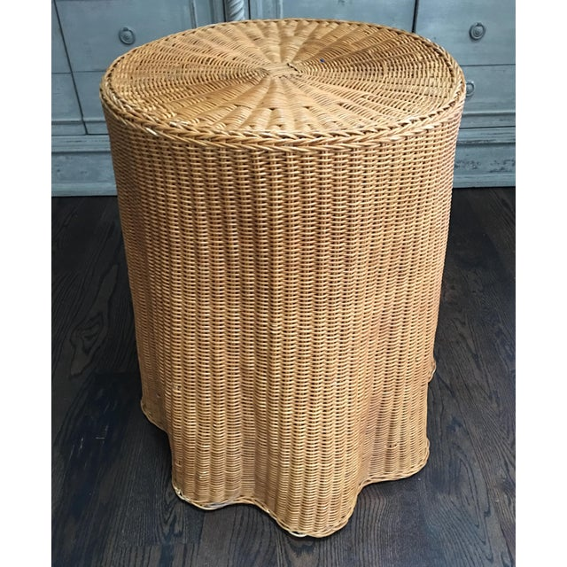 1970s Boho Chic Trompe l'Oeil Draped Wicker Rattan Ghost Table For Sale In Kansas City - Image 6 of 11