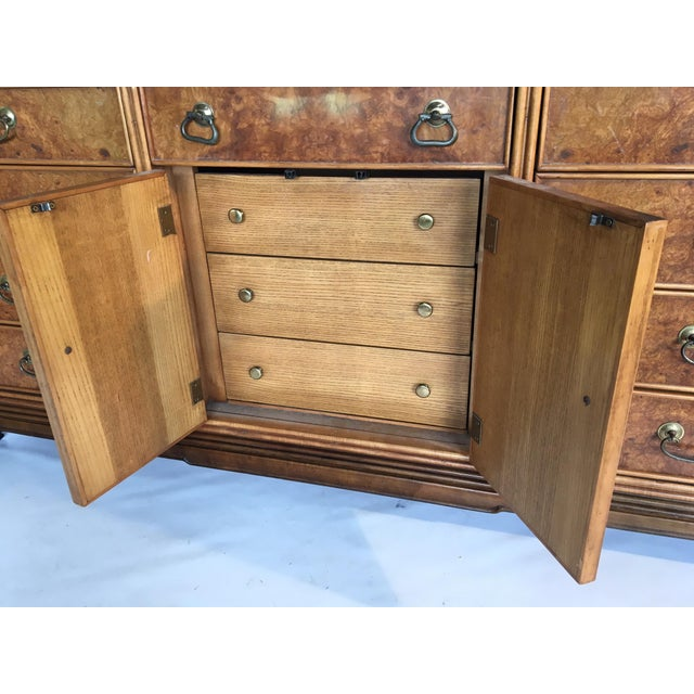 Asian Chinoiserie Burlwood 12-Drawer Dresser by American of Martinsville - Image 6 of 8
