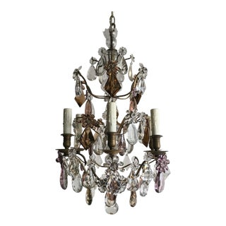 1920s Vintage French Crystal Chandelier For Sale