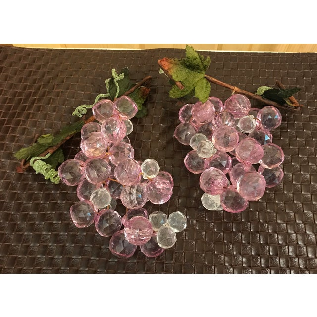 Mid-Century Modern pink and white grapes - two bunches. Faceted design.