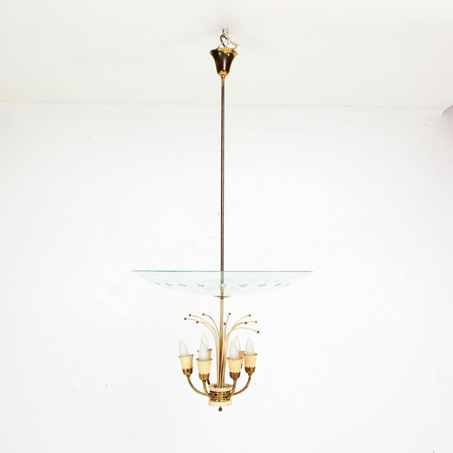 Metal Italian Glass Chandelier After Fontana Arte, Max Ingrand 1950s For Sale - Image 7 of 9