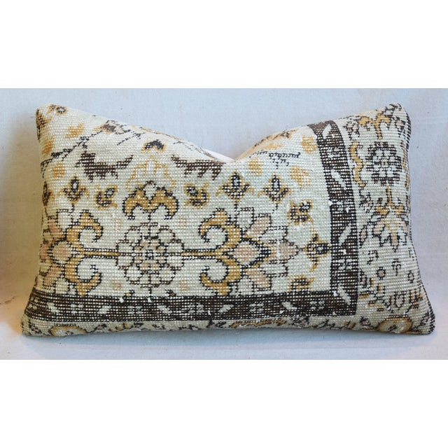 """Early 21st Century Antique Soumak Carpet Wool Feather/Down Pillows 26"""" X 16"""" - Pair For Sale - Image 5 of 13"""