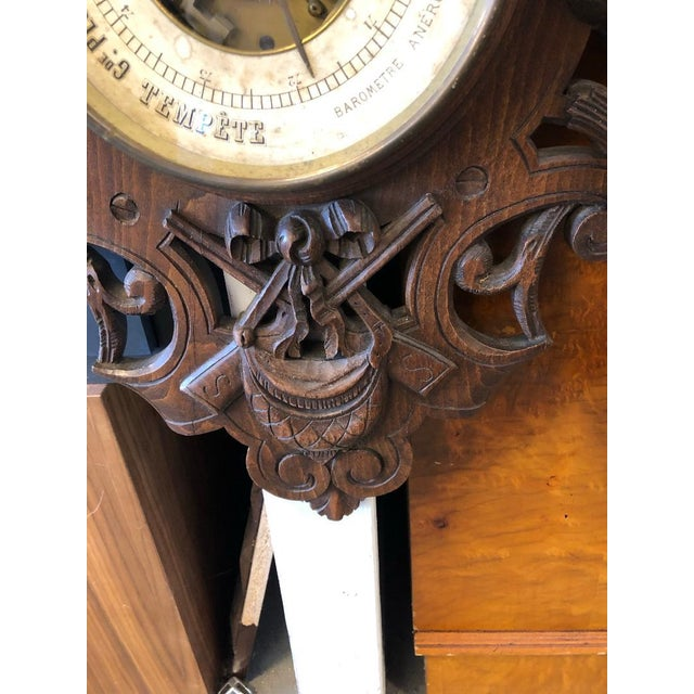Mid 19th Century 19th Century French Black Forest Louis XIII Barometer For Sale - Image 5 of 6