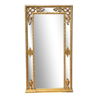 Antique Italian Carved and Gilt Tall Console Mirror For Sale