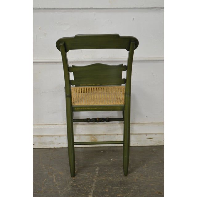 Hitchcock Hitchcock Green Painted George Washington Mount Vernon Cane Seat Side Chair For Sale - Image 4 of 13