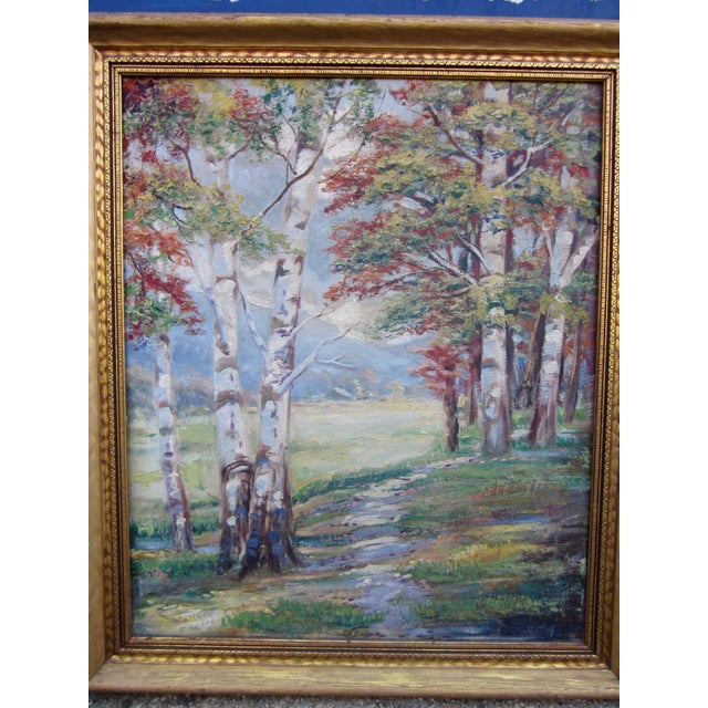 Vintage 1930-1940s Wallace Howard Signed Birch Forest Landscape Oil Painting on Canvas For Sale - Image 10 of 11