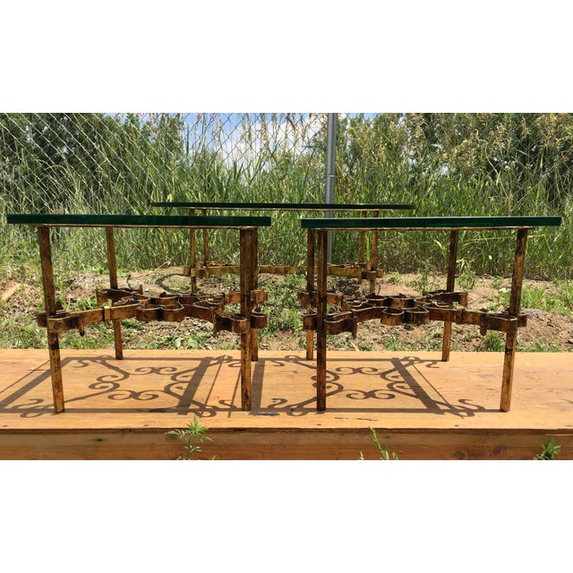 Gothic 1950s Brutalist Spanish Gilded Iron Glass Tables - 3 Pieces For Sale - Image 3 of 12