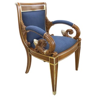 Gianni Versace Vanitas Carved Armchair With a Scrolling Arm and Gilt Details For Sale