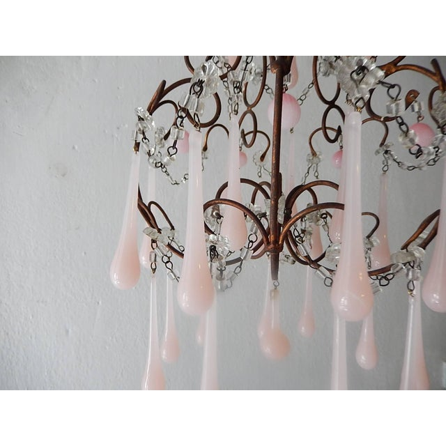 French Pink Opaline Murano Drops Chandelier, circa 1920 For Sale - Image 4 of 9