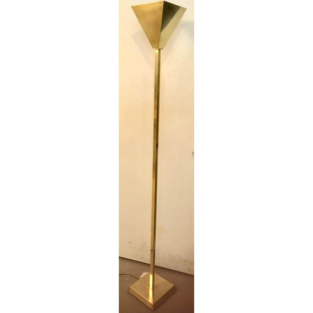 1970s Vintage Brass Torchiere Floor Lamp For Sale - Image 5 of 7