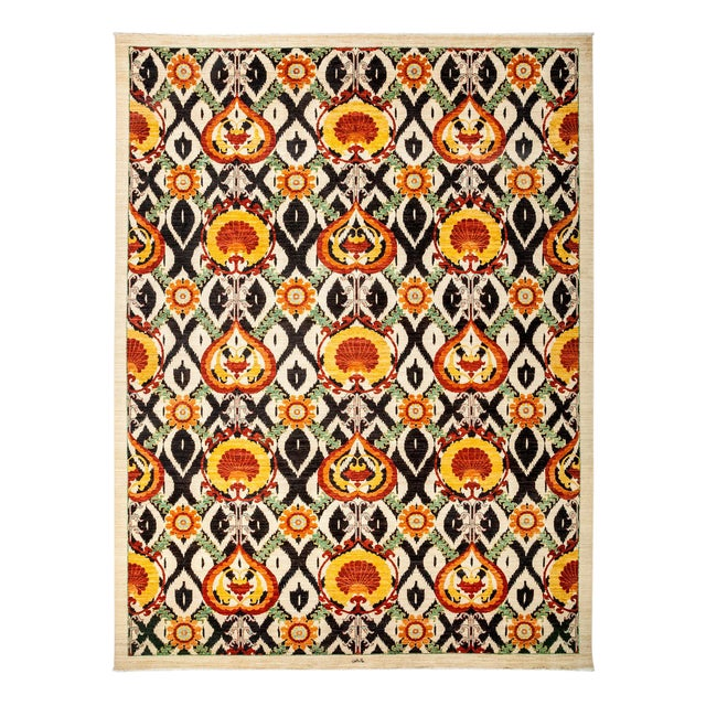 "Suzani Hand Knotted Area Rug - 10'0"" X 13'3"" For Sale"