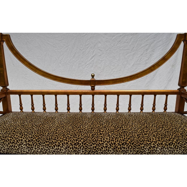 Vintage Mid Century Gold Leaf Leopard Upholstery Hollywood Regency Window Bench For Sale - Image 4 of 11