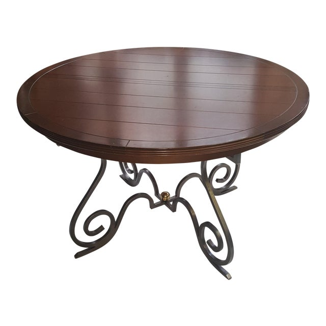 Creative Metal Round Table With Extra Leaf For Sale