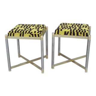 Pair of Brass With Steel Stools by the Weiman Co. Upholstered in Letters Textile For Sale