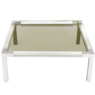 Chrome and Lucite Coffee Table With Smoked Glass Top Manner of Charles Hollis Jones For Sale