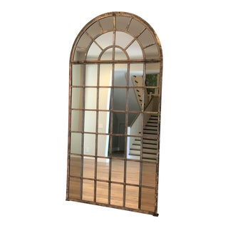 Calypso Home Antique Style Arched Metal and Glass Mirror For Sale
