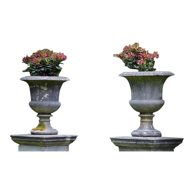 Large Stone Urns on Pedestals For Sale