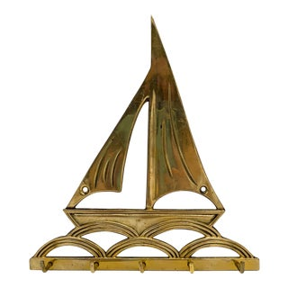 1970's Nautical Sailboat Brass Key Hook Rack For Sale