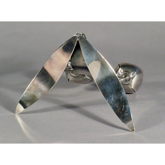 Metal Norwegian Mid-Century Double Silver-Plated Candle Holders - A Pair For Sale - Image 7 of 8