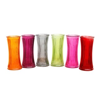 Colorful Glass Flower Vases - Set of 6 For Sale