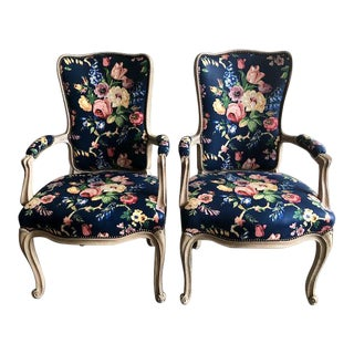 Late 20th Century Country French Style Chairs- A Pair For Sale
