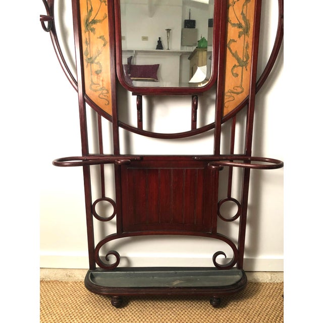 Red Bentwood Hall Tree With Hat and Coat Rack For Sale - Image 8 of 12