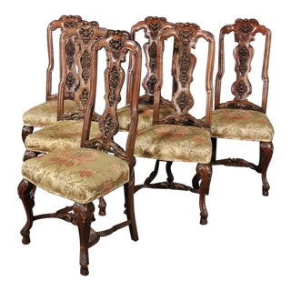 Italian Antique 1890s Era Carved Walnut Tall Back Dining Chairs - Set of 6 For Sale