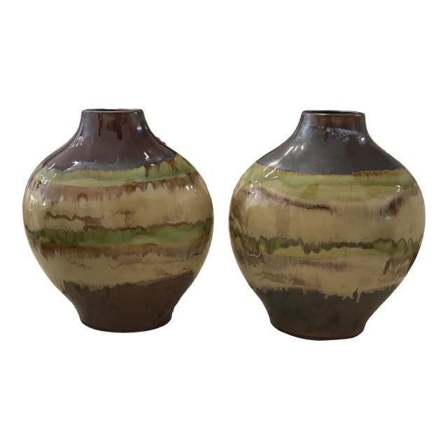 1980s Mid Century Terracotta Vases - a Pair For Sale