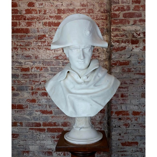 Napoleon Bonaparte Emperor 19th Century Marble Bust Hand Carved Carrara Marble Bust of Napoleon For Sale - Image 12 of 12