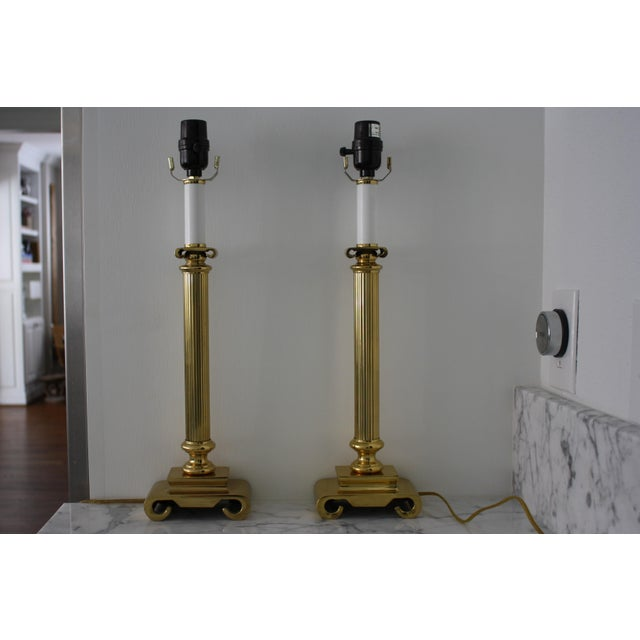 Neoclassical Brass Columnar Candlestick Table Lamps- A Pair - Image 10 of 11