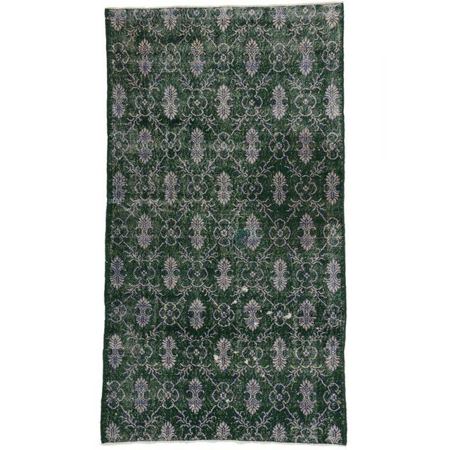 Mid 20th Century Vintage Mid-Century Zeki Muren Dark Green Distressed Rug - 4′1″ × 7′4″ For Sale - Image 5 of 5