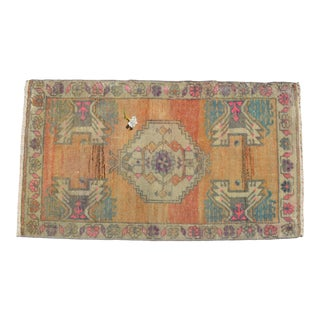 Distressed Low Pile Turkish Yastik Petite Rug Hand Knotted Faded Mat - 21'' X 36'' For Sale