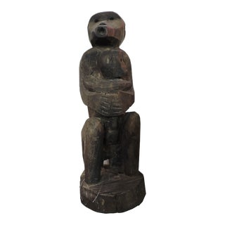 Carved Wooden Timor Monkey Talisman With Infant For Sale