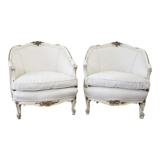 Vintage Mid Century Louis XV Style Original Painted French Bergere Chairs- A Pair For Sale