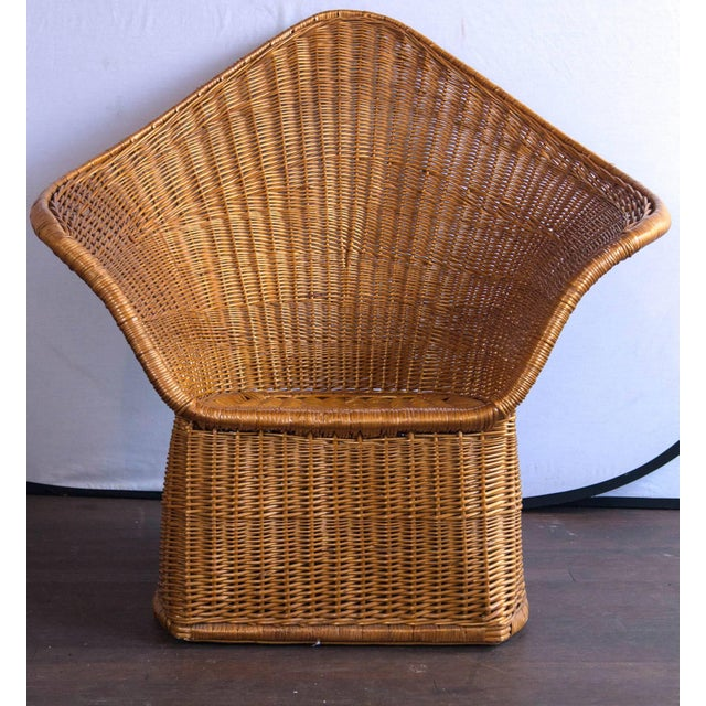 Wicker Vintage Mid Century Triangular Wicker/Rattan Armchair and Ottoman For Sale - Image 7 of 17