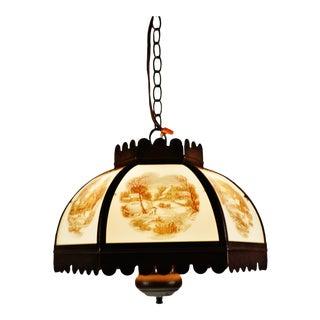 Vintage Currier & Ives Chandelier Pendant Light For Sale