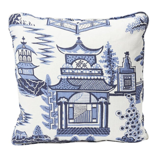 Schumacher Double-Sided Pillow in Nanjing Print For Sale