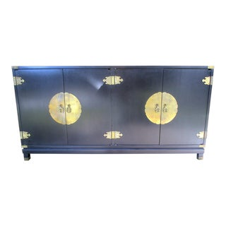 1960s Vintage Permacraft Black Chinese Sideboard For Sale