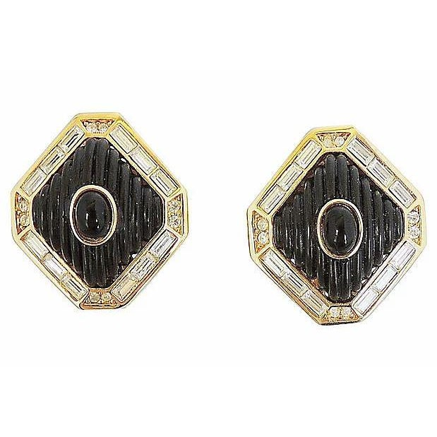 Black Dior Black Lucite & Faux-Onyx Earrings, 1984 For Sale - Image 8 of 8