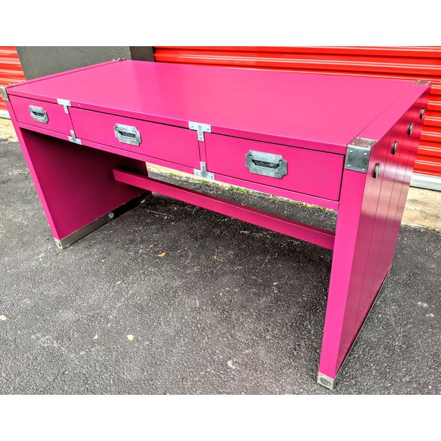 Pink 1980s Glossy Raspberry Bernhardt Campaign Desk For Sale - Image 8 of 10