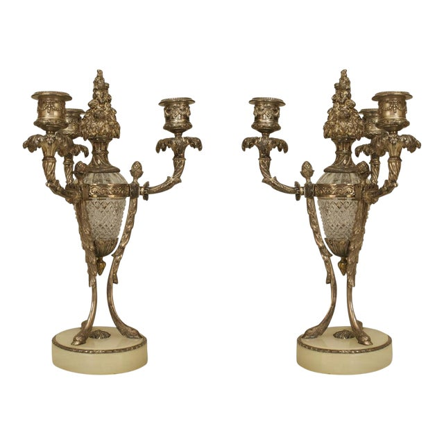 Pair of Ornate 19th C. French Silvered Bronze and Cut Glass Candelabras For Sale