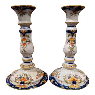 Pair of Early 20th Century French Faience Candleholders From Normandy For Sale