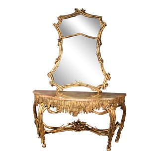 Large Gilded French Louis XVI Style Faux Bois Console Table With Mirror For Sale
